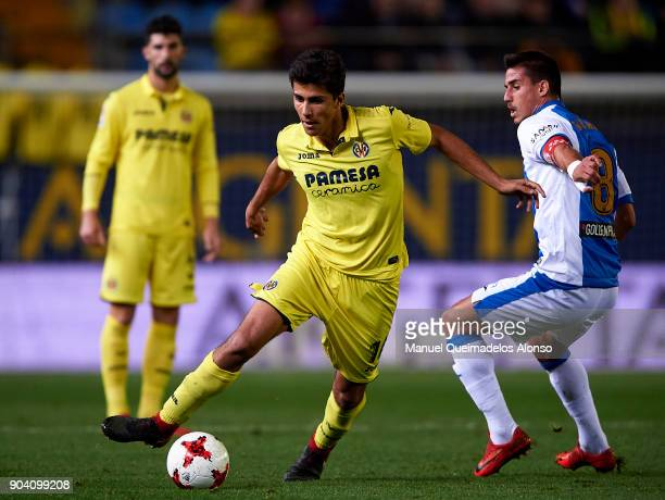 Rodrigo Hernandez of Villarreal competes for the ball with Gabriel Pires of Leganes during the Copa del Rey Round of 16 second Leg match between...