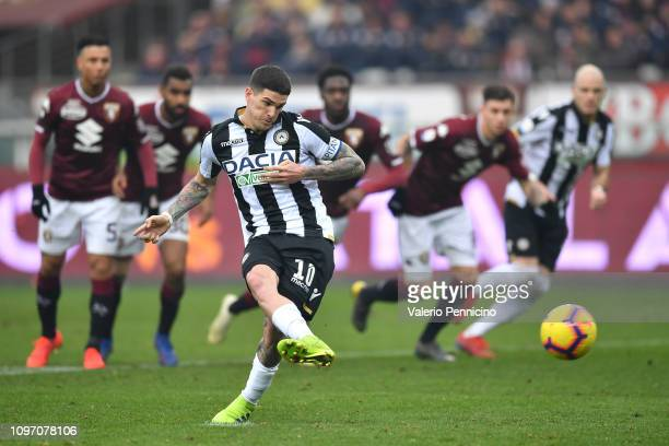Rodrigo Javier De Paul of Udinese misses a penalty during the Serie A match between Torino FC and Udinese at Stadio Olimpico di Torino on February 10...