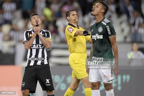 Rodrigo Lindoso of Botafogo reacts during the match between Botafogo and Palmeiras as part of Brasileirao Series A 2018 at Engenhao Stadium on April...
