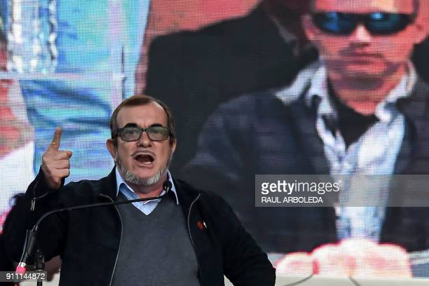 Rodrigo Londono Echeverri known as 'Timochenko' the presidential candidate for the Common Alternative Revolutionary Force political party speaks to...