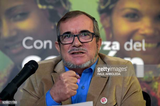Rodrigo Londono Echeverri known as 'Timochenko' the presidential candidate for the Common Alternative Revolutionary Force party speaks during a press...