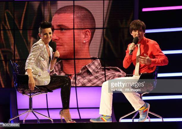 Rodrigo Lopes talks to Davina McCall after being evicted in fifth place during the Big Brother 10 final at Elstree Studios in Borehamwood...