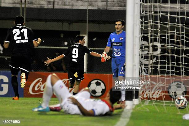 Rodrigo Lopez celebrates after scoring the first goal of Libertad during a match between Nacional and Libertad as part of round 22 of Torneo Clausura...