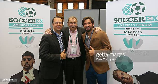 Rodrigo Lopez Duncan Revie and former Mexican striker Francisco 'Kikin' Fonscea following the announcement that Soccerex will hold an Americas Forum...