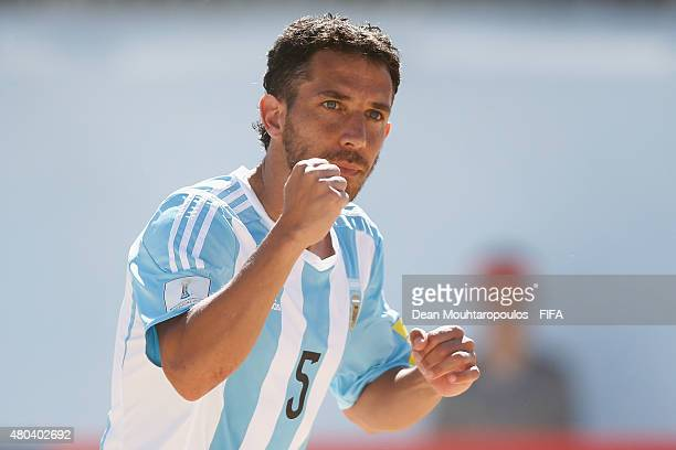 Rodrigo Lopez of Argentina celebrates scoring a goal during the Group A FIFA Beach Soccer World Cup match between Japan and Argentina held at Espinho...