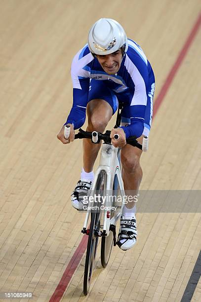 Rodrigo Lopez of Argentina competes in the Men's Individual Cycling C1 Pursuit final on day 2 of the London 2012 Paralympic Games at Velodrome on...