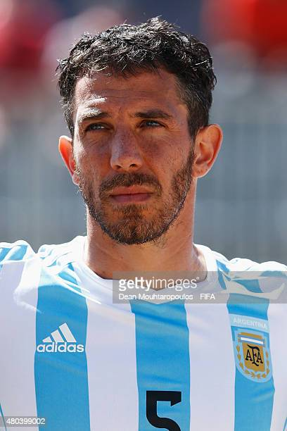 Rodrigo Lopez of Argentina stands for the national anthems prior to the Group A FIFA Beach Soccer World Cup match between Japan and Argentina held at...
