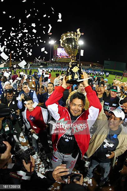 Rodrigo Lopez of Mexico celebrate during the Final Caribbean Series Baseball 2013 in Sonora Stadium on february 7 2013 in Hermosillo Mexico