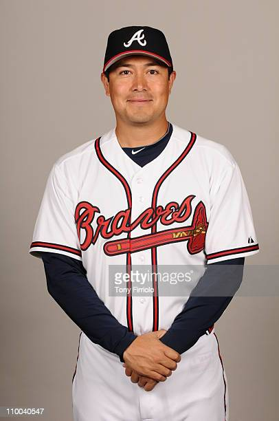 Rodrigo Lopez of the Atlanta Braves poses during Photo Day on Monday February 21 2011 at Champion Stadium in Lake Buena Vista Florida