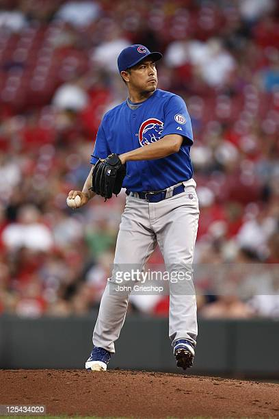 Rodrigo Lopez of the Chicago Cubs delivers the pitch during the game against the Cincinnati Reds on September 12 2011 at Great American Ball Park in...