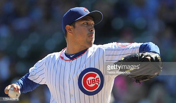 Rodrigo Lopez of the Chicago Cubs pitches against the Houston Astros at Wrigley Field on September 17 2011 in Chicago Illinois