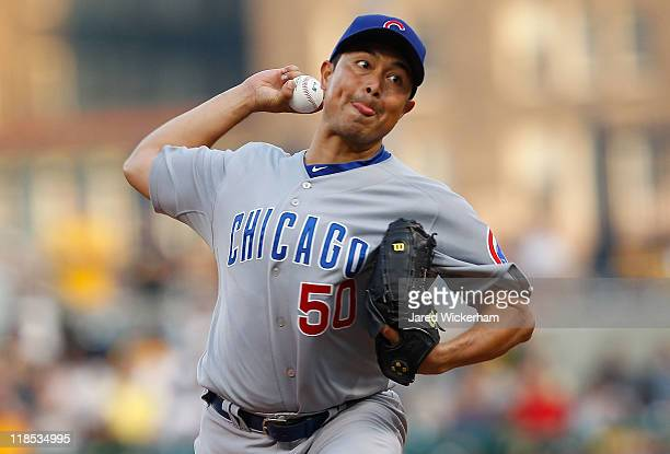Rodrigo Lopez of the Chicago Cubs pitches against the Pittsburgh Pirates during the game on July 8 2011 at PNC Park in Pittsburgh Pennsylvania