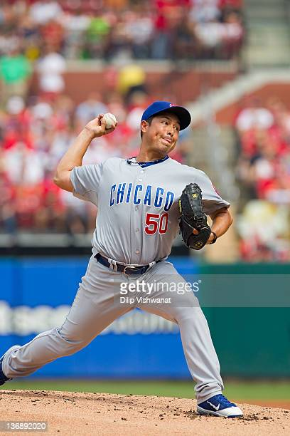 Rodrigo Lopez of the Chicago Cubs pitches against the St Louis Cardinals at Busch Stadium on July 30 2011 in St Louis Missouri