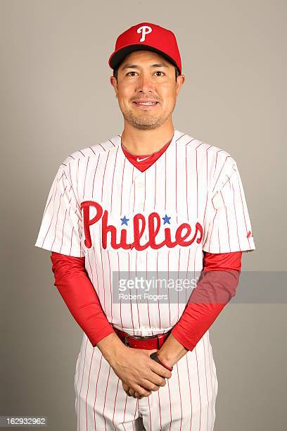 Rodrigo Lopez of the Philadelphia Phillies poses during Photo Day on Monday February 18 2013 at Bright House Field in Clearwater Florida