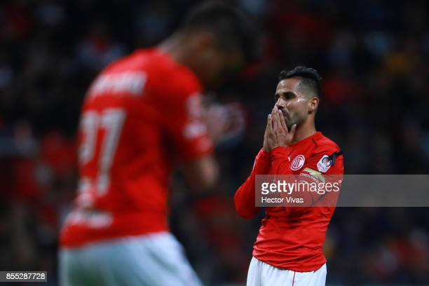 Rodrigo Lopez of Toluca reacts during the 11th round match between Toluca and Pumas UNAM as part of the Torneo Apertura 2017 Liga MX at Nemesio Diez...