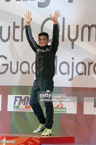 Rodrigo López of Mexico wins the gold medal in the 3 meter springboard during the Day 1 of a diving qualifier for the Youth Olympic Games Nanjing...