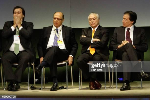 Rodrigo Maia Brazil's house speaker from left Geraldo Alckmin governor of Sao Paulo Michel Temer president of Brazil and Aloysio Nunes Ferreira...