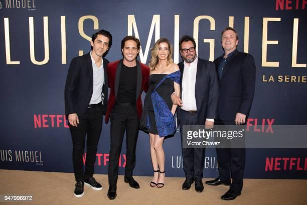 Rodrigo Mazon Diego Boneta Carla Gonzales Vargas Pablo Cruz and Brian Edwards pose during the Netflix Luis Miguel Premiere Red Carpet at Cinemex...