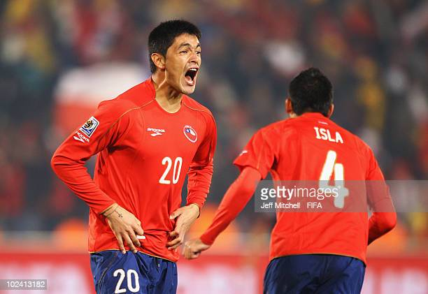 Rodrigo Millar of Chile celebrates during the 2010 FIFA World Cup South Africa Group H match between Chile and Spain at Loftus Versfeld Stadium on...