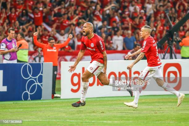 Rodrigo Moledo of Internacional celebrates after scoring the first goal of his team during the match between Internacional and Atletico PRas part of...