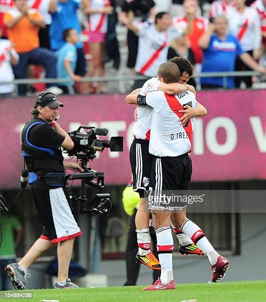 Rodrigo Mora and David Trezeguet of River Plate celebrates a scored goal against Boca Juniors during a match between Boca Juniors and River Plate as...
