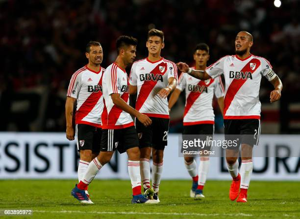 Rodrigo Mora and Gonzalo Martinez of River Plate argue after the match between Godoy Cruz and River Plate as part of the Torneo Primera Division...