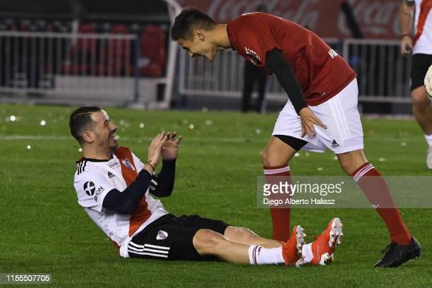 Rodrigo Mora and Lucas Martinez Quarta joke during the farewell match of Uruguayan player Rodrigo Mora at Estadio Monumental Antonio Vespucio Liberti...