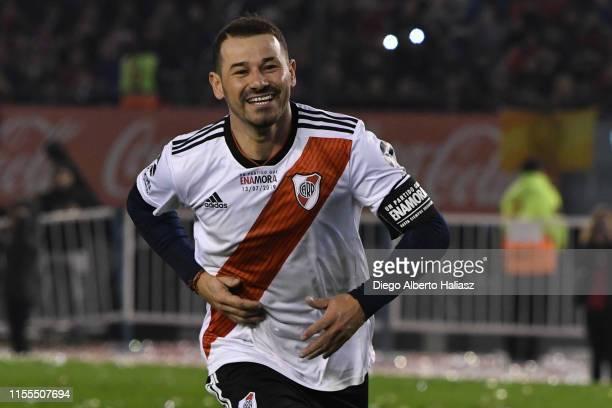 Rodrigo Mora celebrates a goal during the farewell match of Uruguayan player Rodrigo Mora at Estadio Monumental Antonio Vespucio Liberti on July 13...