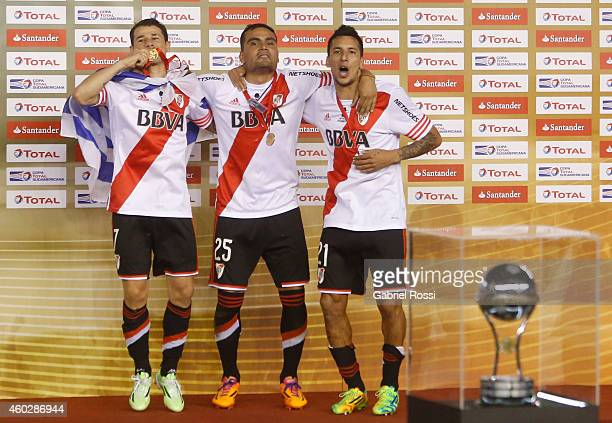 Rodrigo Mora Gabriel Mercado and Leonel Vangioni of River Plate celebrate after winning the second leg final match between River Plate and Atletico...