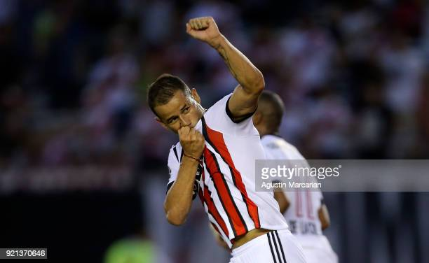 Rodrigo Mora of River Plate celebrates after scoring the first goal of his team during a match between River Plate and Godoy Cruz as part of...
