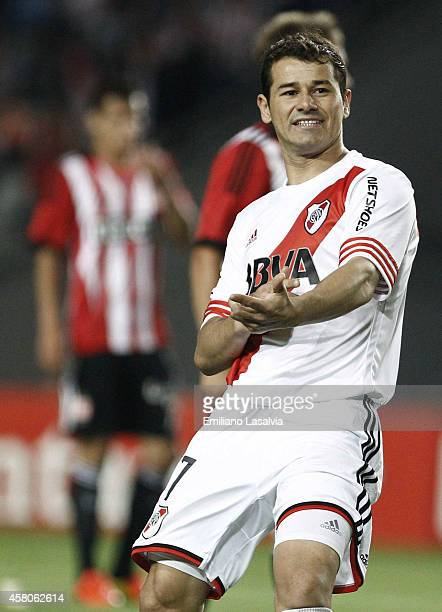 Rodrigo Mora of River Plate celebrates the first goal of his team during a first leg match between Estudiantes and River Plate as part of quarter...