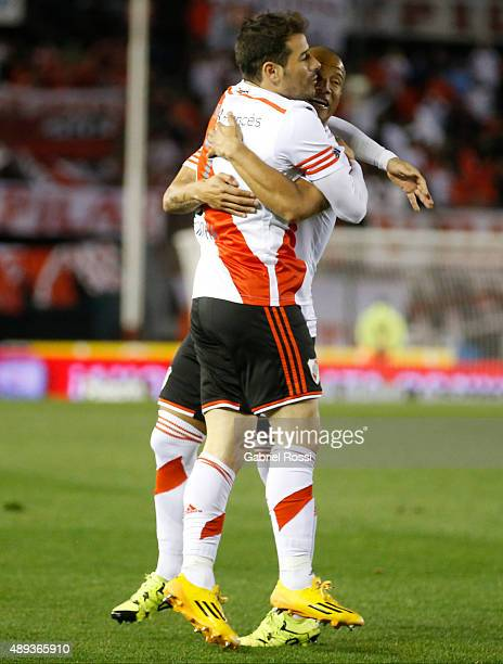 Rodrigo Mora of River Plate celebrates with his teammate Carlos Sanchez after scoring his team's first goal during a match between River Plate and...