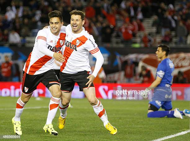 Rodrigo Mora of River Plate celebrates with his teammate Gonzalo Martinez after scoring his team's first goal during a match between River Plate and...
