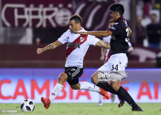 Rodrigo Mora of River Plate drives the ball during a match between Lanus and River Plate as part of the Superliga 2017/18 at Ciudad de Lanus Stadium...