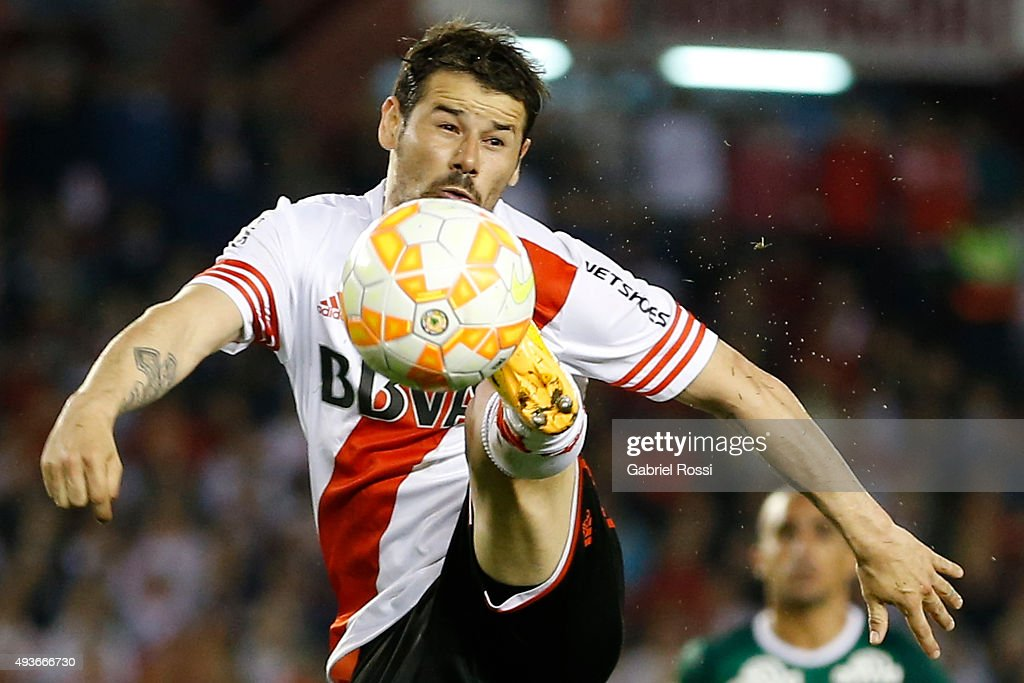 Rodrigo Mora of River Plate kicks the ball during a match between River Plate and Chapecoense as part of Quarter Finals of Copa Sudamericana 2015 at Monumental Antonio Vespucio Liberti Stadium on October 21, 2015 in Buenos Aires, Argentina.