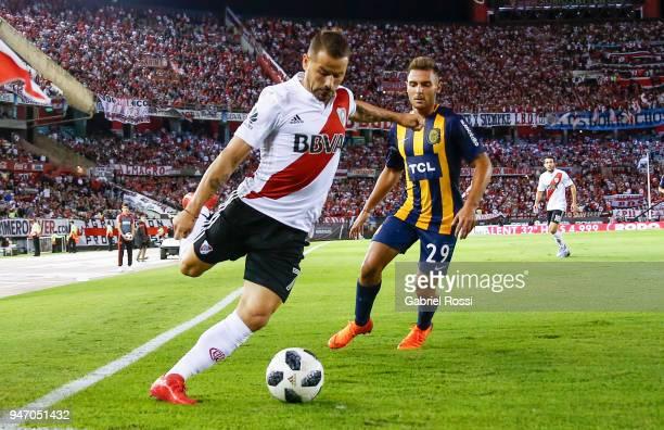 Rodrigo Mora of River Plate kicks the ball during a match between River Plate and Rosario Central as part of Superliga 2017/18 at Estadio Monumental...