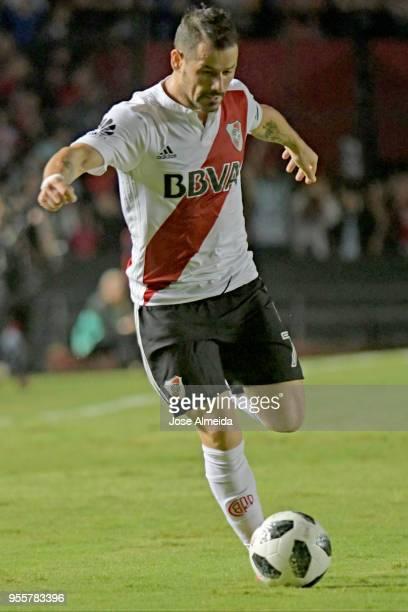 Rodrigo Mora of River Plate kicks the ball during a match between Colon and River Plate as part of Superliga at Brigadier General Estanislao Lopez...