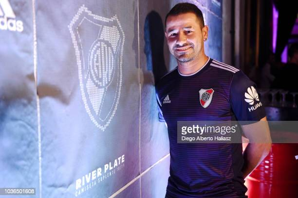 Rodrigo Mora of River Plate poses with the new jersey during the presentation of the new away kit 2018/19 at La Ferneteria Bar on September 13 2018...