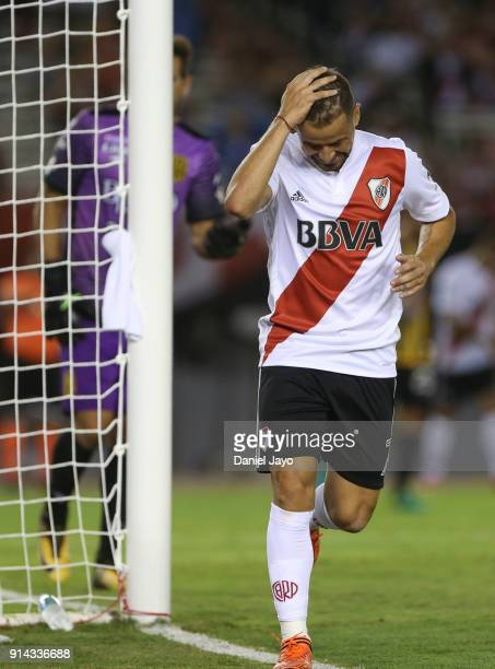 Rodrigo Mora of River Plate reacts after missing a chance to score during a match between River Plate and Olimpo as part of Superliga 2017/18 at...