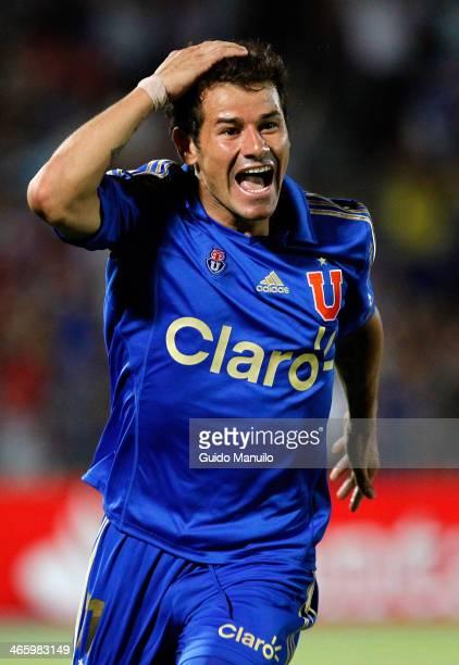 Rodrigo Mora of Universidad de Chile celebrates after scoring during a match between U de Chile and Deportivo Guarani as part of the Copa...