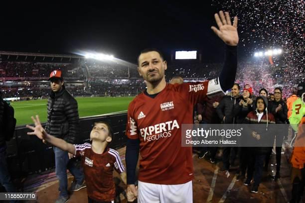 Rodrigo Mora shows gratitude to the fans after the farewell match of Uruguayan player Rodrigo Mora at Estadio Monumental Antonio Vespucio Liberti on...
