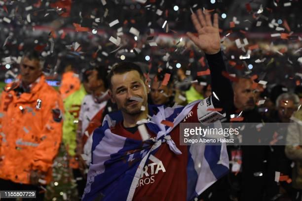 Rodrigo Mora thanks fans after the farewell match of Uruguayan player Rodrigo Mora at Estadio Monumental Antonio Vespucio Liberti on July 13 2019 in...