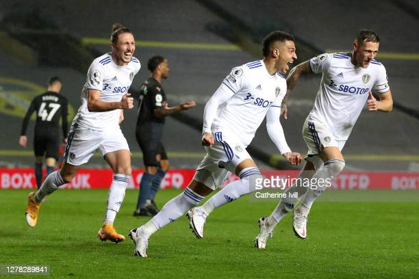 Rodrigo Moreno of Leeds United celebrates after scoring his team's first goal during the Premier League match between Leeds United and Manchester...