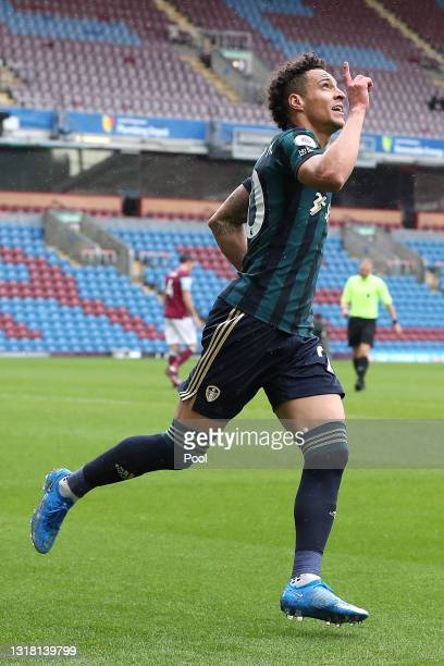 Rodrigo Moreno of Leeds United celebrates after scoring their side's third goal during the Premier League match between Burnley and Leeds United at...