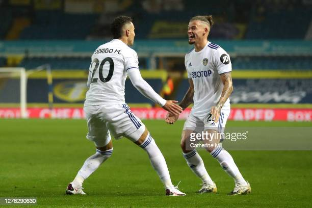 Rodrigo Moreno of Leeds United celebrates with teammate Kalvin Phillips after scoring his team's first goal during the Premier League match between...