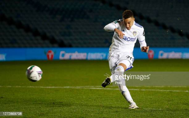 Rodrigo Moreno of Leeds United scores his sides first penalty during the Carabao Cup Second Round match between Leeds United and Hull City at Elland...