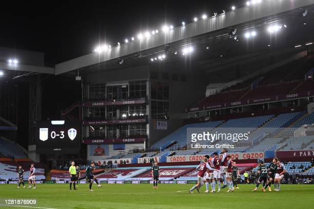 Rodrigo Moreno of Leeds United takes a freekick in front of empty stands during the Premier League match between Aston Villa and Leeds United at...