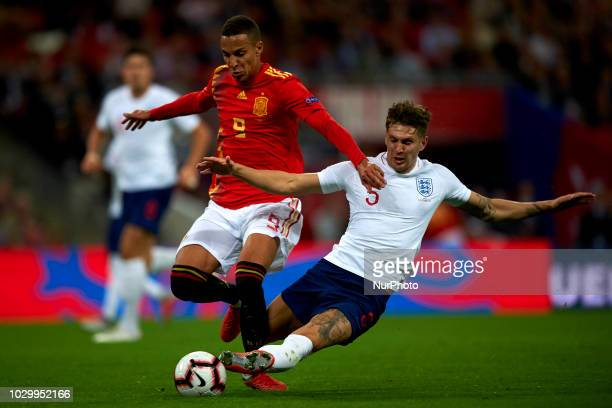 Rodrigo Moreno of Spain and Jhon Stones of England battle for the ball during the UEFA Nations League football match between England and Spain at...