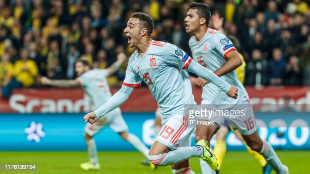 Rodrigo Moreno of Spain celebrates after scoring his team's first goal during the UEFA Euro 2020 qualifier between Sweden and Spain on October 15,...
