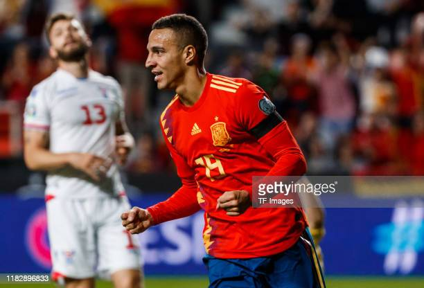 Rodrigo Moreno of Spain celebrates after scoring his team`s first goal 1:0 during the UEFA Euro 2020 qualifier match between Spain and Faroe Islands...